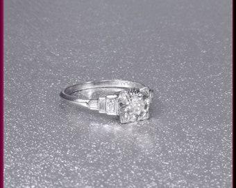 Art Deco Engagement Ring Antique Engagement Ring Statement Ring Alternative Engagement Ring Art Deco Ring Filigree Ring Platinum Dainty Ring