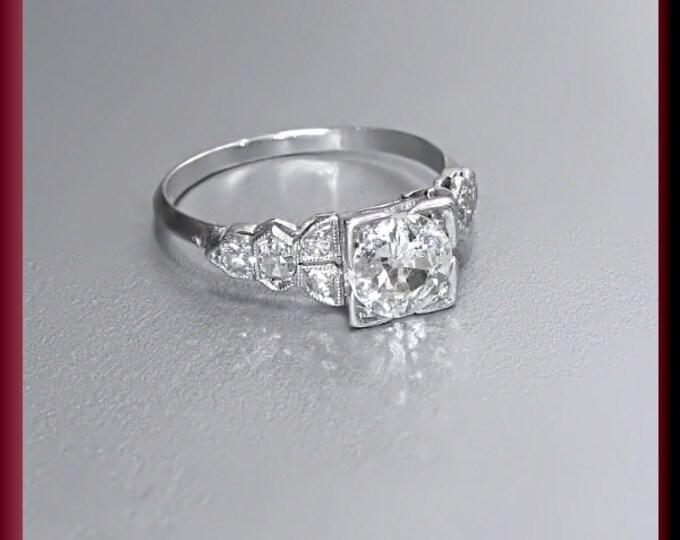Vintage Diamond Engagement Ring Art Deco Diamond Engagement Ring with Old European Cut Diamond Platinum Wedding Ring  ER 444M