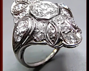 Diamond Cocktail Ring Art Deco Ring Filigree Ring Platinum Statement Ring