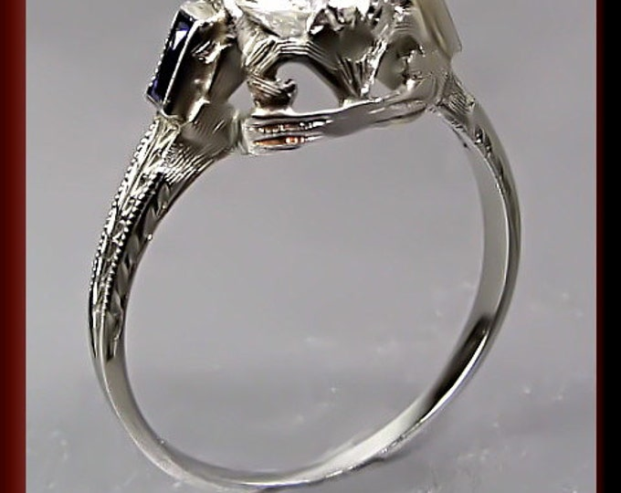 Art Deco Diamond Engagement Ring Antique Diamond Engagement Ring with Old European Cut Diamond 18K White Gold  Wedding Ring - ER 422M