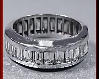 Diamond Wedding Band Vintage Diamond Eternity Band Diamond Baguette Wedding Band Ring 14K White Gold Eternity Band Ring