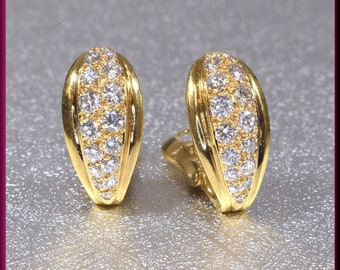 Cartier Diamond Earrings, Cartier Yellow Gold Diamond Earrings