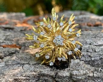Gold Sunburst Brooch, Gold and Diamond Brooch, Sunburst Brooch, Lapel Pin, Brooch Bouquet