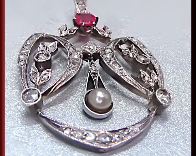 Antique Vintage Victorian White and Yellow Gold Rose Cut Diamond, Old Mine Cut Diamond and Ruby Pendant