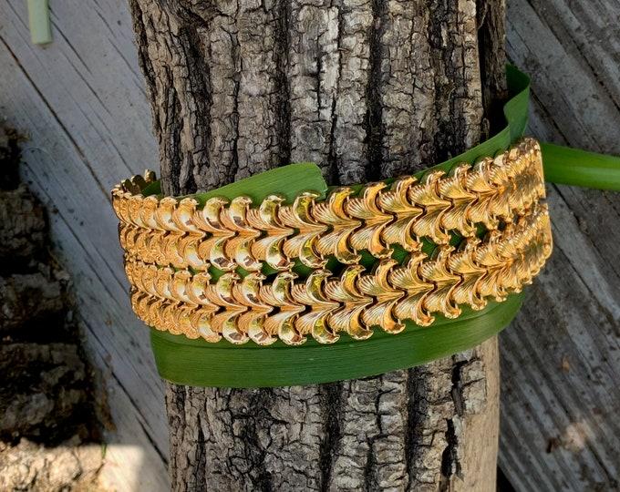 Wide Gold Bracelet, Retro Gold Wide Bracelet, Chunky Gold Bracelet