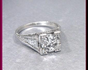 Art Deco Diamond Engagement Ring Antique Diamond Engagement Ring with Old European Cut Diamond Platinum Wedding Ring  - ER 527M