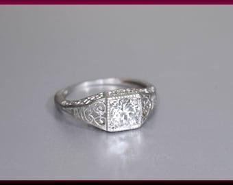 Vintage Diamond Engagement Ring Filigree Engagement Ring with Old European Cut Diamond Platinum Wedding Ring- ER 631M