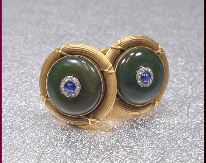Jade Cufflinks Gold Cufflinks Sapphire Cufflinks Wedding Cufflinks Men's Cufflinks  Diamond Cufflinks Grooms Gift for Him Anniversary Gift