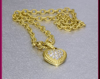 Gold Heart Necklace, Judith Ripka Heart Pendant, Diamond Heart Pendant, Heart Necklace