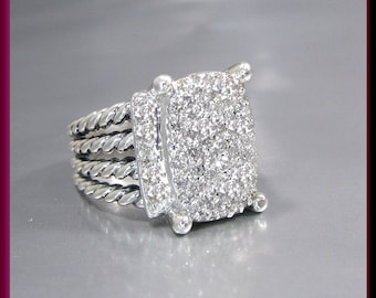 Vintage David Yurman Wheaton Collection Sterling Silver Diamond Cocktail Ring Statement Ring - DY 2