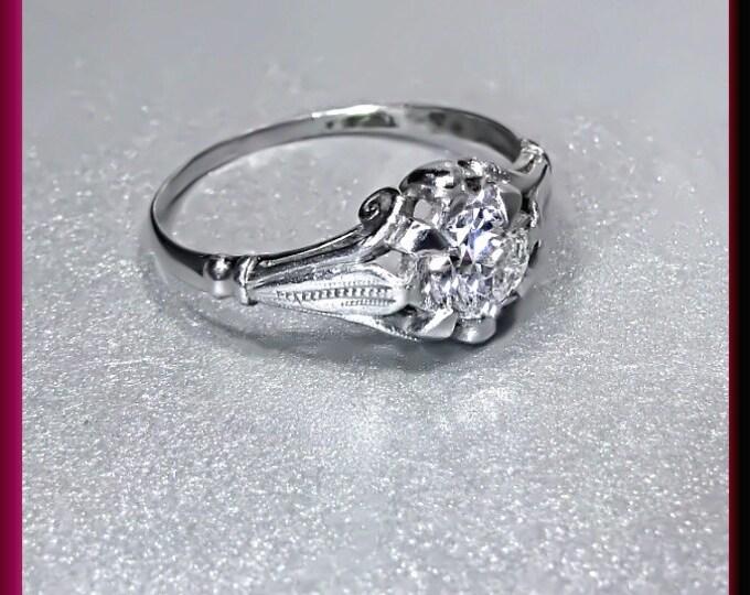 Art Deco Diamond Engagement Ring Antique Diamond Engagement Ring with Old European Cut Diamond Platinum Wedding Ring- ER 502M