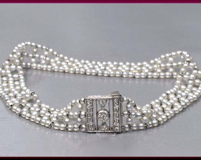 Antique Vintage Art Deco Platiinum, Sea Pearl and Diamond Clasp Bracelet - BR 101S