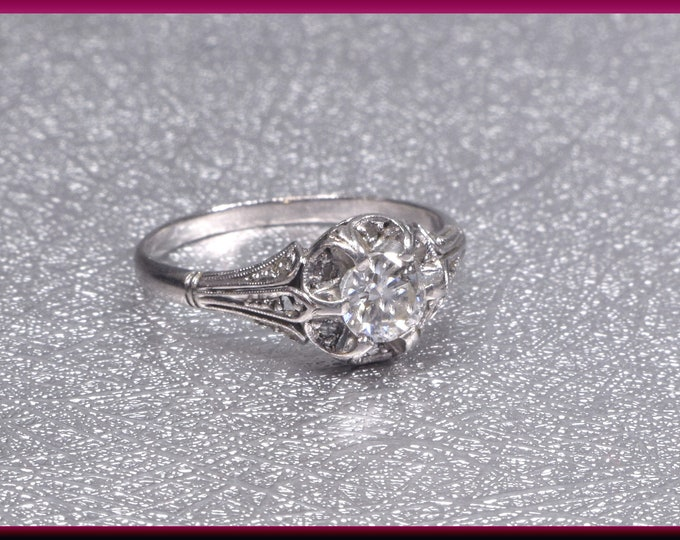 Art Deco Engagement Ring Antique Engagement Ring Alternative Engagement Ring Art Deco Ring Filigree Ring Platinum Ring Minimalist Ring