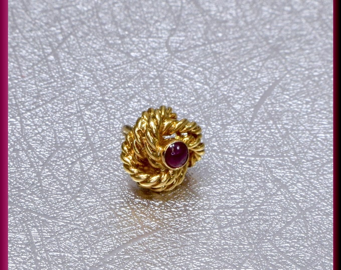 Tiffany and Co Tie Tack 18K Yellow Gold and Ruby Tie Tack Stud