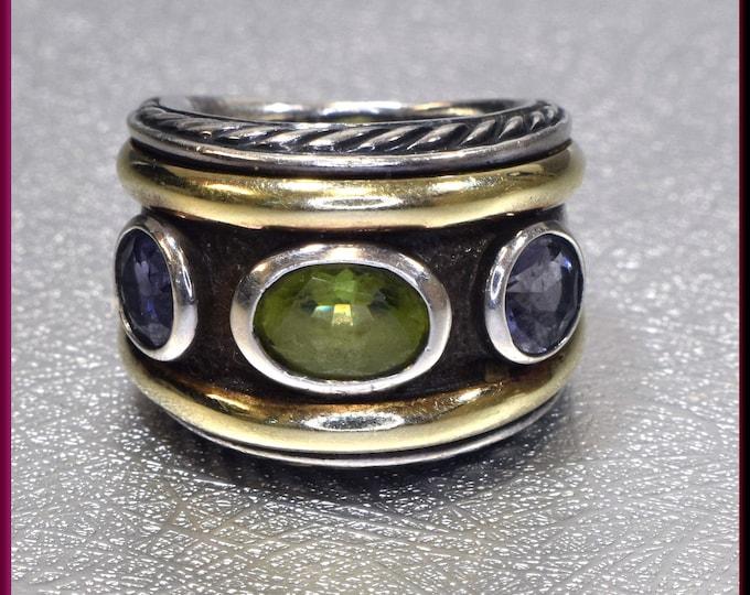 David Yurman Amethyst Ring, David Yurman Sterling Silver and Yellow Gold Renaissance Collection Ring