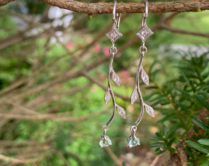 Cathy Waterman Platinum, Peridot and Diamond Earrings