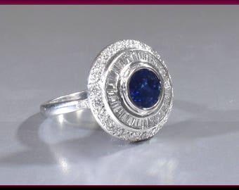 Diamond Sapphire Cocktail Ring, Vintage Sapphire Ring, Sapphire and Diamond, Statement Ring, Platinum Ring