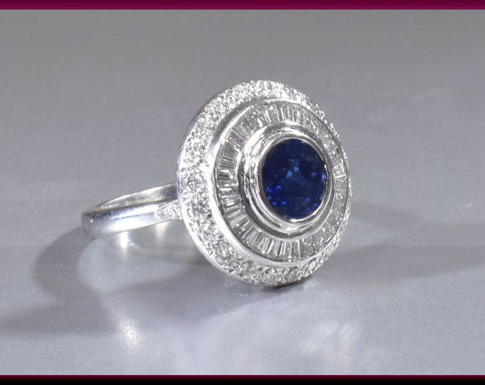 Diamond Sapphire Cocktail Ring, Vintage Sapphire Ring, Sapphire and Diamond, Statement Ring, Platinum Ring