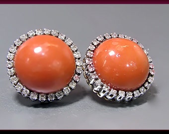 Vintage 18K Yellow Gold Coral Earrings, Coral and Diamond Earrings