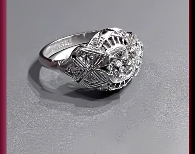 Vintage Diamond Engagement Ring Art Deco Diamond Engagement Ring with Old European Cut Diamond Platinum Wedding Ring - ER 369S