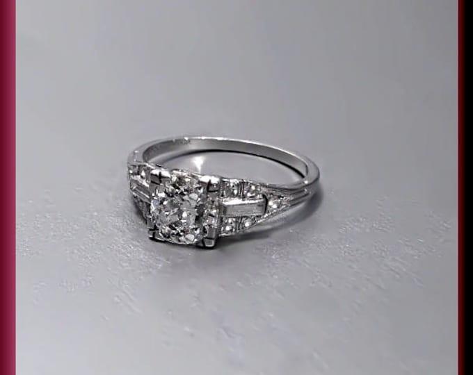 Antique Diamond Engagement Ring Art Deco Diamond Engagement Ring 1930's with Old European Cut Diamond Platinum Wedding Ring  - ER 384S