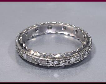 Antique Vintage Art Deco 14K White Gold and Diamond Wedding Band Eternity Band - R 531S