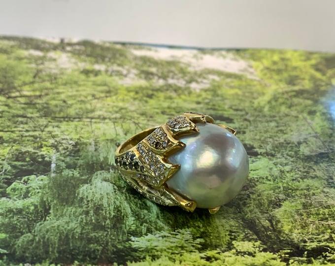 South Sea Pearl Ring, Tahitian Pearl Ring, Cognac Diamond Ring, Pearl Statement Ring