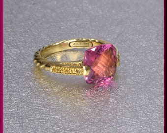 David Yurman Pink Touramline Ring, David Yurman Deco Ring, Yellow Sapphire Ring, Yellow Gold Ring David Yurman Ring, Yurman Ring Size 8 1/4