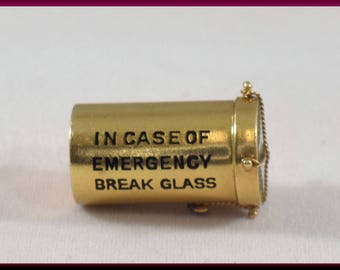 In case of Emergency Charm Vintage 14K Yellow Gold Charm - C 22