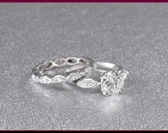 Vintage Diamond Engagement Ring Diamond Engagement Ring Platinum Engagement Ring  - ER 495M