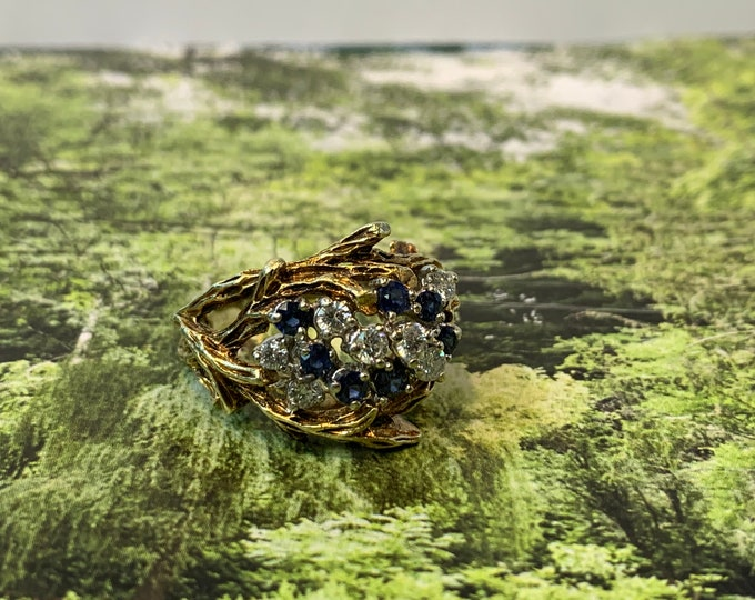 Diamond and Sapphire Cluster Ring, Sapphire Cluster Ring, Sapphire Cocktail Ring