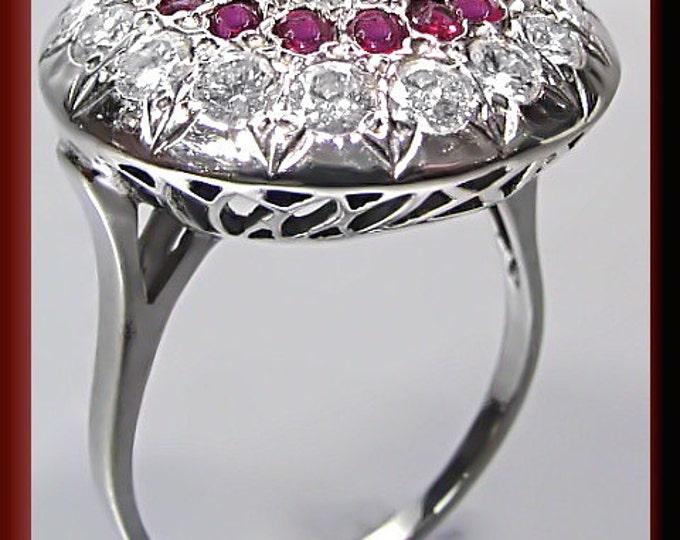 Antique Vintage 1950's Sunburst 14k White Gold Diamond and Ruby Cocktail Ring