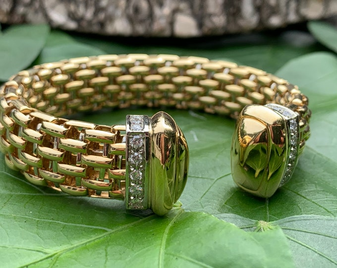 Wide Gold Bangle, Wide Diamond Bangle, Gold Diamond Bangle,  Diamond Bangle,  Diamond Bracelet