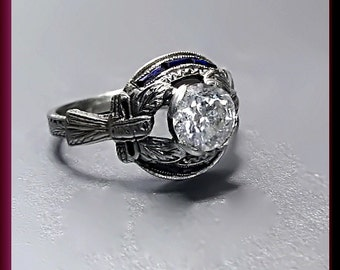 Antique Diamond Engagement Ring Vintage Diamond Engagement Ring with Old European Cut Diamond 18K White Gold Wedding Ring - ER 425M