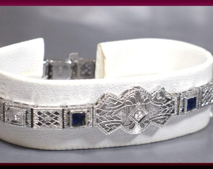 Art Deco Vintage Antique 14K White Gold Filigree and Diamond Bracelet - BR 410M