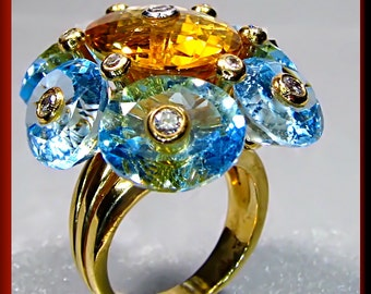 Vintage 1970's 18K Yellow Gold Blue Topaz, Citrine and Diamond Dramatic Cocktail Statement Ring