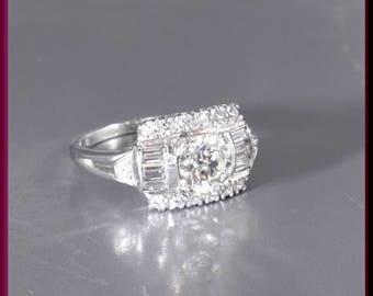 Art Deco Diamond Engagement Ring Antique Diamond Engagement Ring with Old European Cut Diamond Platinum Wedding Ring - ER 642M