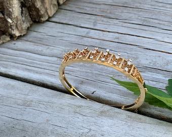 Gold and Diamond Bangle, Yellow Gold and Diamond Bracelet
