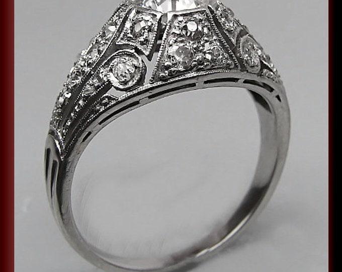 Antique Diamond Engagement Ring Art Deco Diamond Engagement Ring with Old European Cut Diamond Platinum Wedding Ring - ER 354s