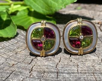 Tourmaline Earrings, Green Tourmaline Earring,  Pink Tourmaline Earrings, Mother of Pearl Earrings
