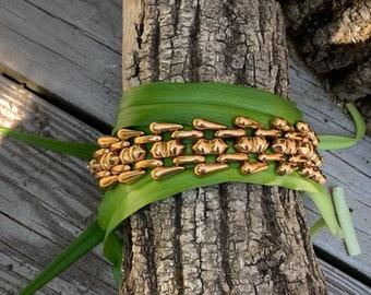 Retro Wide Gold Bracelet, Chunky Wide Gold Bracelet, 1940s Gold Bracelet