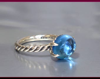 Vintage David Yurman Color Classics Collection Sterling Silver Blue Topaz Statement Ring - DY 66