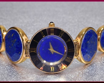 Blue Lapis Watch, Gold and Lapis Watch, Lapis Watch, Lapis and Onyx Watch, Blue Lapis Bracelet, Statement Watch