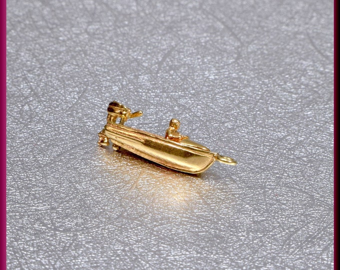 Yellow Gold Boat Charm, Gold Motor Boat Charm, Gold Speed Boat Charm