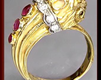 Vintage Designer LaLaounis 18k Yellow Gold Ruby and Diamond Snake Ring