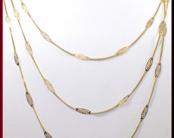 Antique Gold Chain Necklace,  Victorian Gold Chain, Victorian 14k Decorative Link, Long Gold Chain,Statement Layering Chain