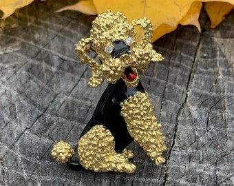Gold Poodle Brooch, Vintage Poodle Brooch, Gold Poodle Pin. Dog Brooch, Poodle Jewelry, Dog Jewelry, Poodle Pendant, Poodle Gifts