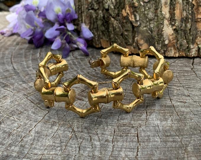 Wide Gold Bracelet, Chunky Wide Gold Bracelet, 1960s Gold Bracelet