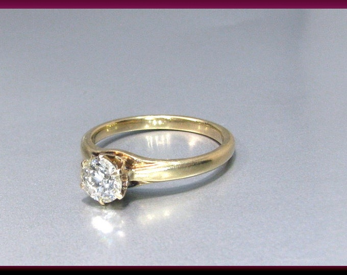 Antique Diamond Engagement Ring Victorian Diamond Engagement Ring 14k Yellow Gold Old European Cut Diamond Wedding Ring - ER 604M