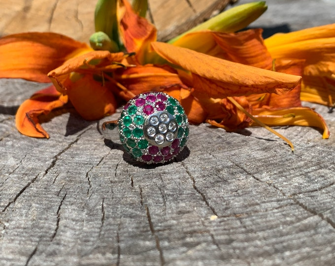 Yellow Gold Diamond, Ruby and Emerald Cluster Ring, Multi Gem Cluster Ring, Ruby Cocktail Ring, Multi Stone Ring